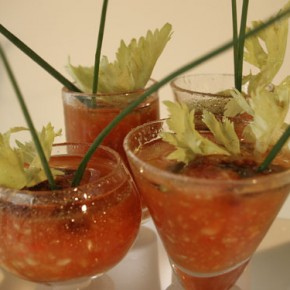 Chilled Gaspacho  (served in a shooter glass)