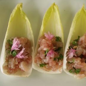 Red Tuna Barquerolle  (Chicon and tuna tartar)