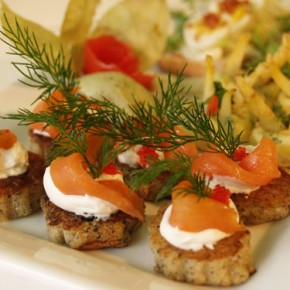 Smoked Trout Blini  (Saracen pancake with fresh smoked trout)